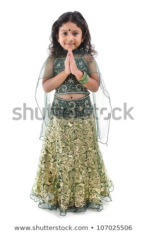 Full body traditional Indian girl in sari Stock photo © szefei