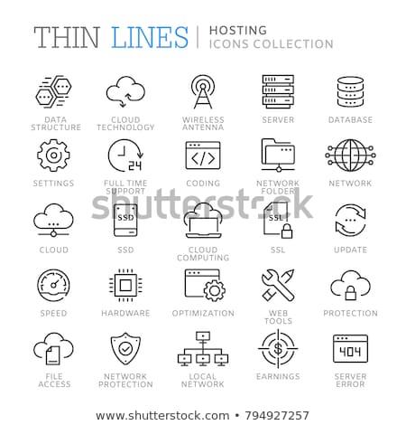 Cloud hosting ikon szett technológia háló felhő szolgáltatás Stock fotó © Genestro