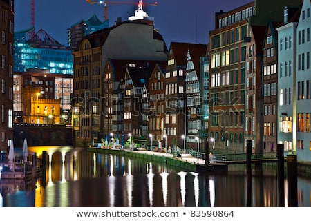 старые канал Гамбург ночь воды здании Сток-фото © meinzahn
