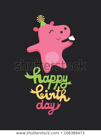Boldog születésnapot színes vicces víziló szöveg torta Stock fotó © Elmiko