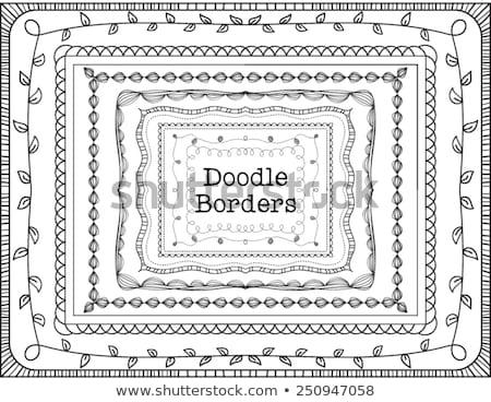 Doodle frame regenboog gekleurd hart zwarte Stockfoto © zsooofija