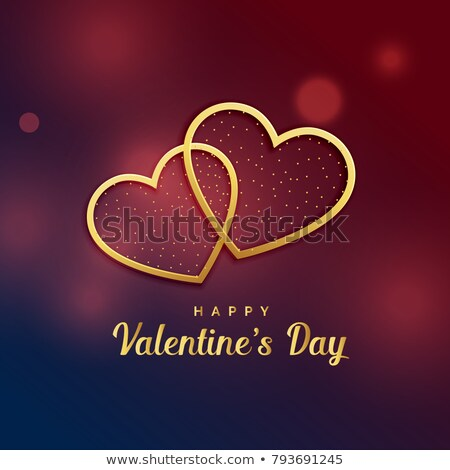 Stock photo: Two golden hearts greeting card