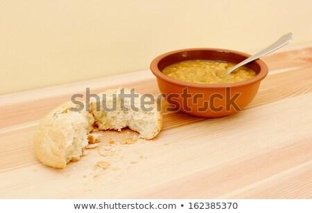 soep · tabel · gescheurd · brood · rollen · witte - stockfoto © sarahdoow