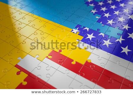 Foto stock: EUA · Ucrânia · bandeiras · quebra-cabeça · vetor · imagem