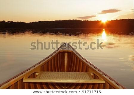 naplemente · este · tó · Saskatchewan · víz - stock fotó © pictureguy
