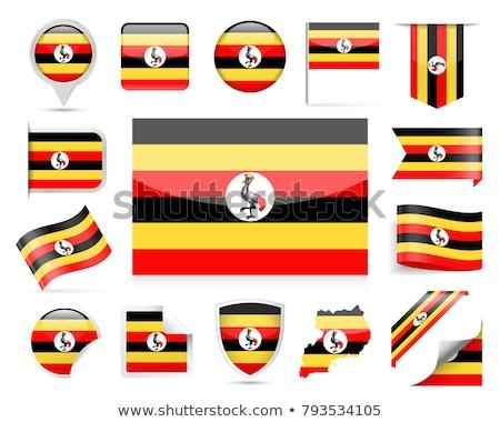 Stock fotó: Tér · címke · zászló · Uganda · izolált · fehér