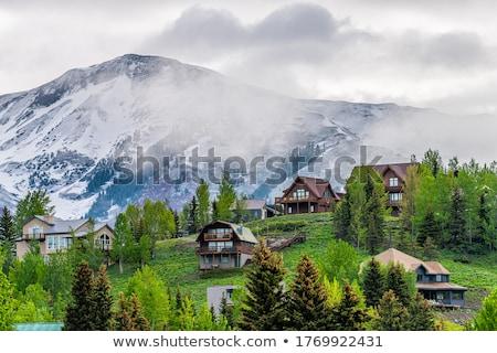 Heuvels mist landschap wolken abstract natuur Stockfoto © All32