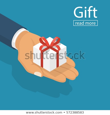 hombre · 3d · caja · de · regalo · blanco · frente · ángulo · vista - foto stock © nithin_abraham