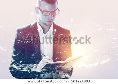 Doble exposición retrato arquitecto masculina cansado Foto stock © stevanovicigor