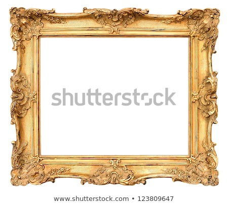 Houten frame geschilderd goud vierkante geïsoleerd witte Stockfoto © Taigi