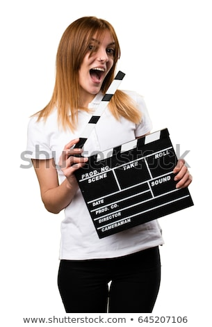 mulher · filme · isolado · branco · filme - foto stock © hsfelix