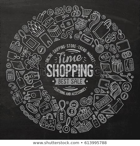 online · alışveriş · tebeşir · ikon · bulut · ok - stok fotoğraf © rastudio