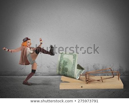 Clown soldi trappola donna sicurezza divertente Foto d'archivio © alphaspirit