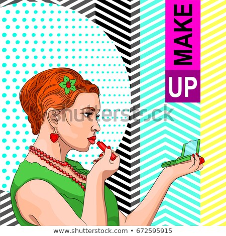 ретро · женщину · зеркало · помада · макияж · моде - Сток-фото © lunamarina