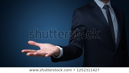 üzletember nyitva kéz kék férfi hálózat Stock fotó © fotoquique
