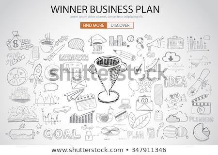 nyerő · üzlet · terv · firka · terv · stílus - stock fotó © davidarts