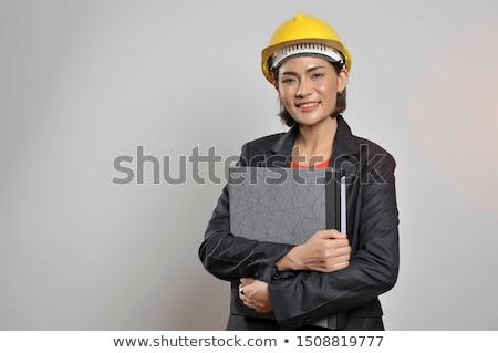 エンジニア · 青写真 · 女性 · 建物 · 孤立した - ストックフォト © elnur