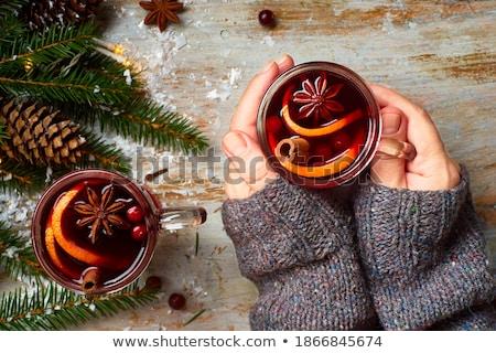 Рождества украшения вино снега свет Сток-фото © dariazu