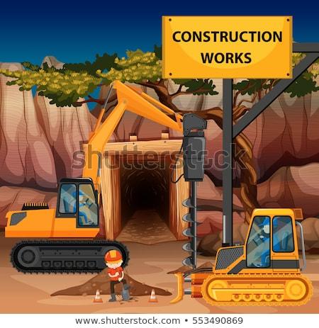 Construção cena escavadeira ilustração edifício paisagem Foto stock © bluering