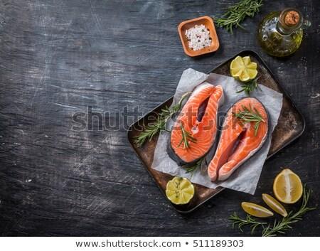 Foto stock: Salmón · peces · filete · rústico · superior