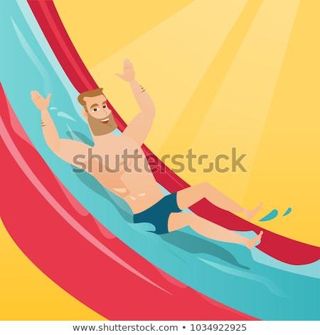 ウォータースライド · 少年 · ダウン · 急 · 遊園地 · 水 - ストックフォト © rastudio