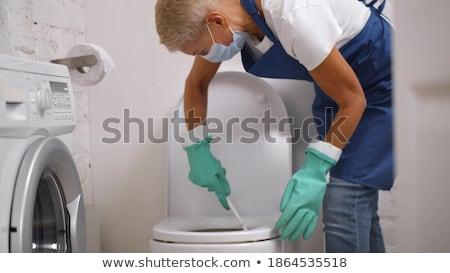 banheiro · isolado · limpeza · limpar · madeira · trabalhar - foto stock © rastudio