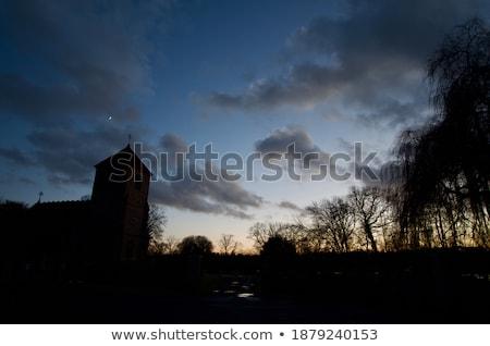 Stockfoto: Oude · Engels · dorp · winter · zon · laag