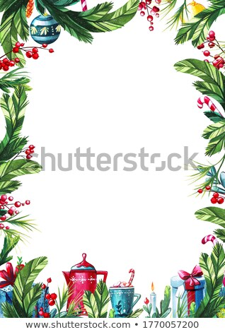 Navidad felicitación rectangular nieve azul Foto stock © romvo