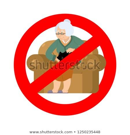 старушку · знак · остановки · женщину · бумаги · девушки · стороны - Сток-фото © popaukropa