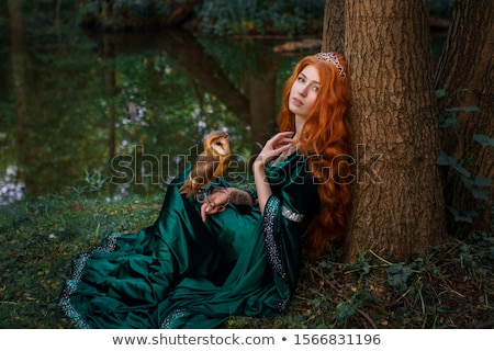 Portrait a beautiful redheaded woman in dress Stock photo © deandrobot