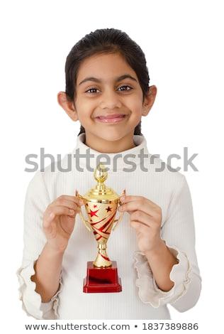 sorridere · ragazza · scherma · trofeo · divertimento - foto d'archivio © is2