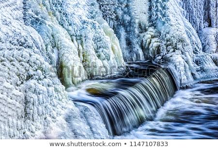 Foto stock: Congelado · cascadas · nieve · rock · naranja
