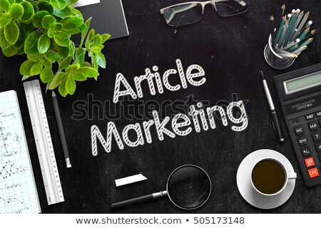 Stock photo: Black Chalkboard with Article Marketing. 3D Rendering.