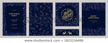 vector merry christmas party design with holiday typography elements and light garland on shiny back stock photo © articular