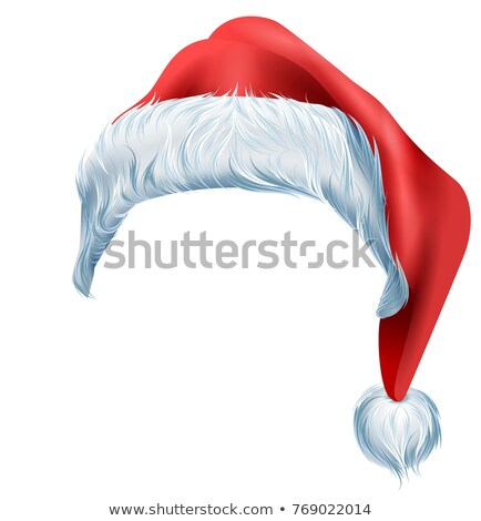 Santa red hat with fluffy edge shaggy fur. Christmas traditional accessory Stock photo © orensila