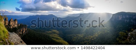 beautiful sunrise over jamison valley australia stock photo © lovleah