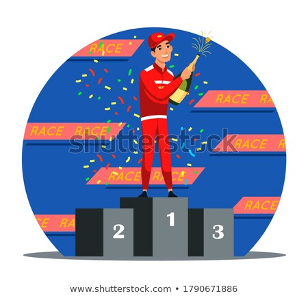 Sport Car Racer Male Vector. Red Uniform. Rally Race Car Driver. Animated Character Creation Set. Ma Stock photo © pikepicture