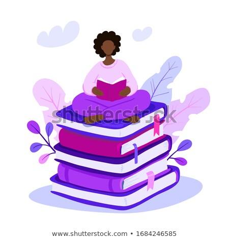 Giovani nero ragazza studente gigante Foto d'archivio © vectorikart