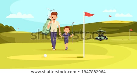Father and son - cartoon people characters illustration Stock photo © Decorwithme