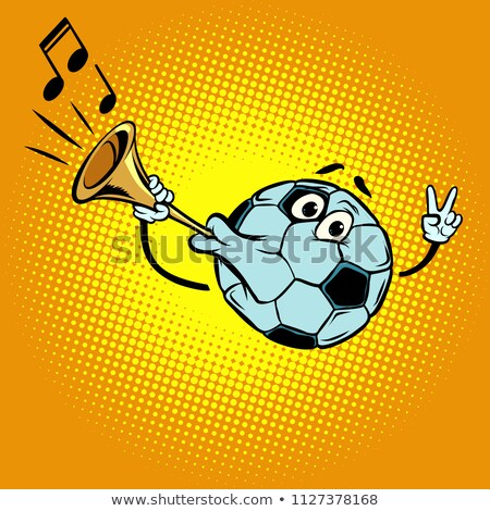 Fan horn, loud sound. Character soccer ball football Stock photo © rogistok