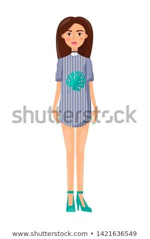 девушки короткий платье женщину полосатый Сток-фото © robuart