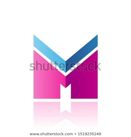 青 マゼンタ 手紙m ストライプ 反射 孤立した ストックフォト © cidepix