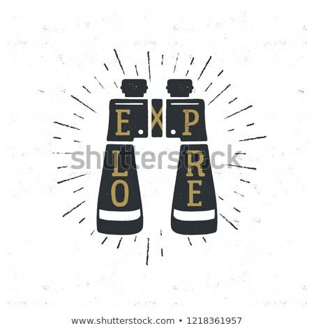 Vintage hand drawn binoculars with typography quote inside - Explore. Retro emblem design. Good for  Stock photo © JeksonGraphics