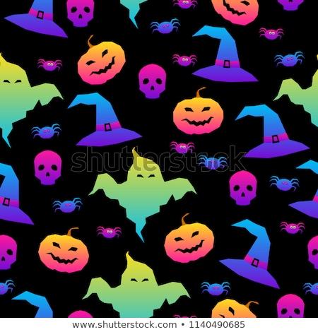 halloween seamless pattern with pumpkins on dark background stockfoto © voysla