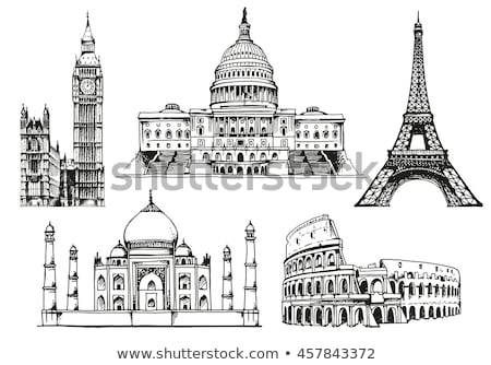 Capitol of USA and Taj Mahal Vector Illustration Stock photo © robuart