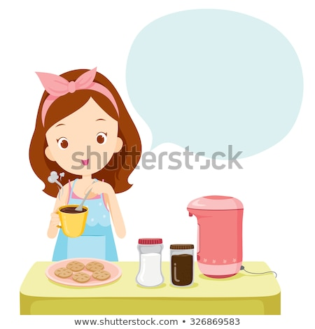 Karikatür yemek kitabı konuşma örnek kitap mutlu Stok fotoğraf © cthoman