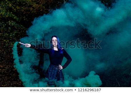 Dramatik portre çekici kız mavi saç kız Stok fotoğraf © fotoduki