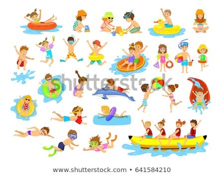 erkek · çocuk · vektör · pozitif · çocuk · su · parkı - stok fotoğraf © robuart
