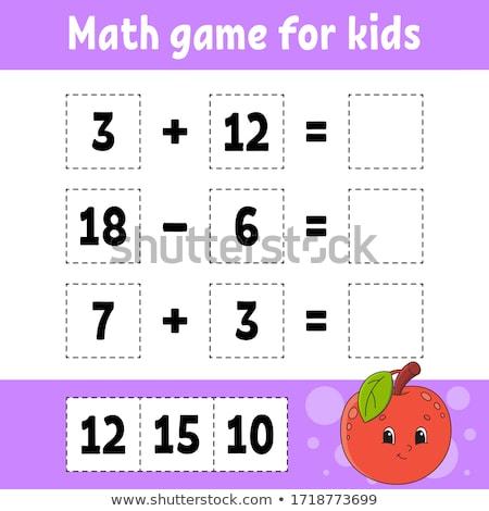 Matemática cálculo jogo crianças desenho animado Foto stock © izakowski