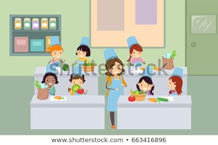 cottura · classe · ragazzi · illustrazione · indossare · colorato - foto d'archivio © lenm